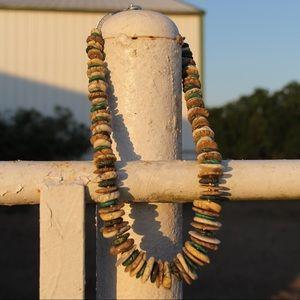 Turquoise Graduated Discs Necklace